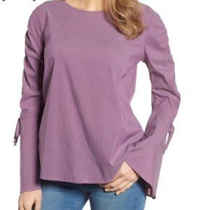 Halogen Striped Bell Sleeve Purple Top